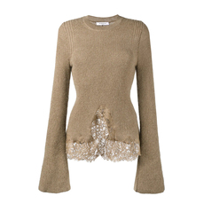 Givenchy Knitted Lace Hem Sweater Camel