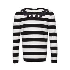Versace Patch Details Stripes Sweater Black/White