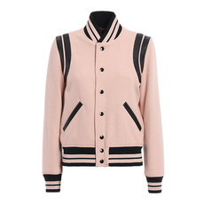 Saint Laurent Leather Details Jacket Light Pink