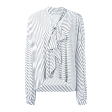 Balenciaga Neck Tie Striped Top White