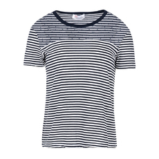 Red Valentino Tulle Embellished Striped T-Shirt Blue/White