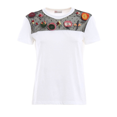 Red Valentino Lace With Flower Details T-Shirt White