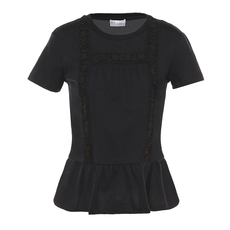 Red Valentino Round Neck Ruffle Bottom Top Black