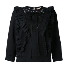 N°21 Ruffle And Lace Sweatshirt Black