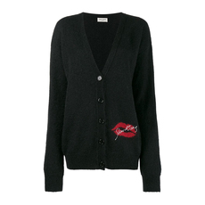 Saint Laurent Slow Kissing V Neck Oversize Cardigan Black