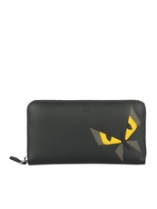 Fendi Black Leather And Inlay Zip-Around Wallet