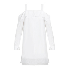 Proenza Schouler Off Shouiler Ruffle Trim Dress White