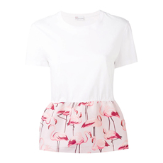 Red Valentino Flamingo Peplum Print T-Shirt White