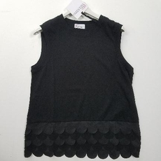 Red Valentino Ruffle Bottom Sleeveless Top Black