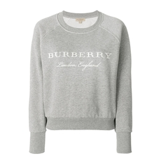 Burberry Embroidered Cotton Sweatshirt Pale Grey