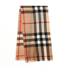 Burberry Lightweight Check Wool Cashmere Scarf Camel