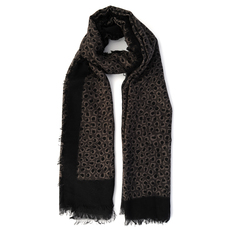 Gucci Leopard Print Scarf Dark Brown