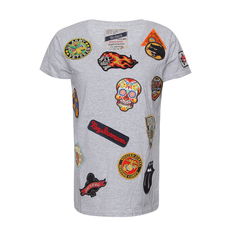 History Repeats Embroidered Patch T-Shirt Grey