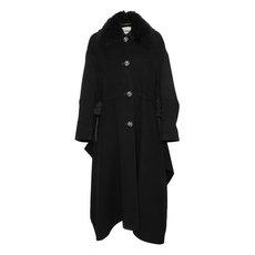Fendi Oversized Black Rabbit Fur Coat Black