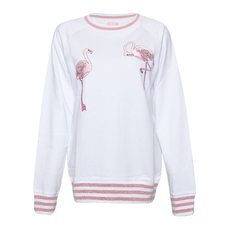 Giamba Red Crane Embroidered Sweatshirt White
