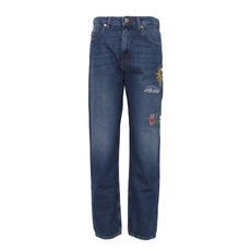 Love Moschino Multi Pattern Embroidered Jeans Blue