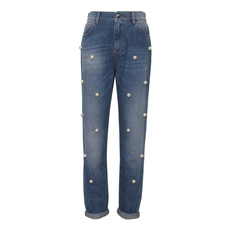 Pinko White Bead Embellished Jeans Blue