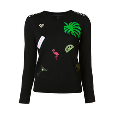 Marc Jacobs Appliques And Patches Crew Neck Sweater Black