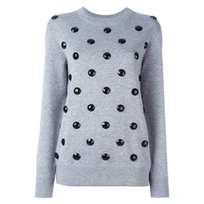 Marc Jacobs Black Jewels Embellished Crew Neck Sweatshirt Light Grey