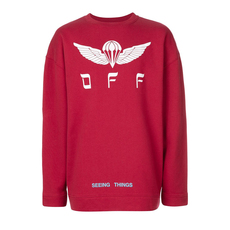 Off White Parachute Logo Print T-Shirt Red
