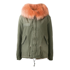 Mr & Mrs Italy Mini Parka Patch Fox Raccoon Fur Hooded Coat Green/Pink
