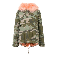 Mr & Mrs Italy Camouflage Fur Lining With Mini Patched Coat Green