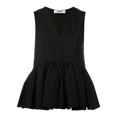 Msgm Sleeveless V-Neck Ruffle Detail Top Black