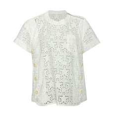 Sacai Passing Cloth With Button Details Top White