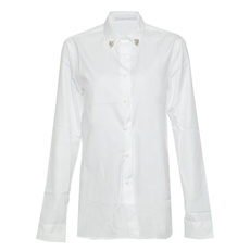 Ermanno Scervino Collar Crystal Button Shirt White