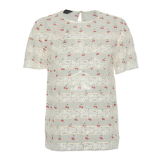 Marc Jacobs Lace Insert Cherry Printed Top White