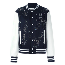 Night Market H Letter Patch Jacket Dark Blue