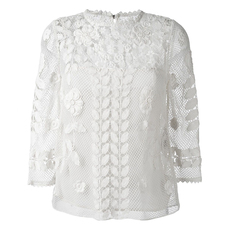 Red Valentino Floral Macrame Top White
