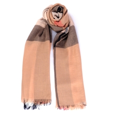 Burberry Check Modal Cashmere And Silk Scarf Camel