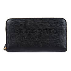Burberry Embossed Leather Ziparound Wallet Black