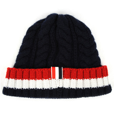 Thom Browne Cable Knit Stripe Panel Beanie Navy