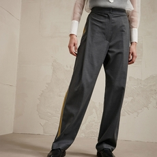 Brunello Cucinelli Virgin Wool Loose Tailored Trousers With Active Stripes