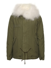 MR&MRS ITALY Army Cotton Canvas Mini Parka With Fox Fur