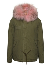 MR&MRS ITALY Canvas Mini Parka With Fur Lining