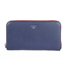 Emporio Armani Accordion Zip Around Wallet Blue/Red