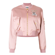 Moschino Teddy Bear Logo Ribbed Round Neck Jacket Pink/White/Green