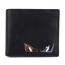 Fendi Black Leather Bi-Fold Wallet With Inlays