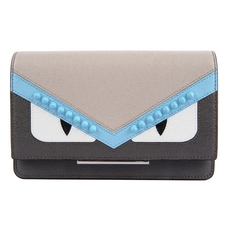 Fendi Wallet On Chain Gray Leather Wallet With Inlays