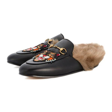 Gucci Princetown Women Slipper With Angry Cat Appliqué