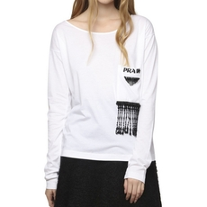 Prada Crystal Embrodery Top White