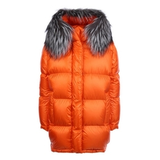 Prada Nylon Down Jacket With Fur Collar