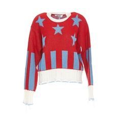 Msgm Stars And Stripes Jumper Red Blue
