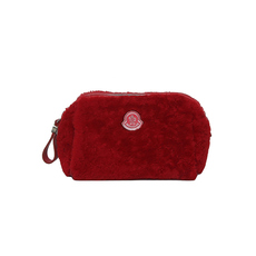 Moncler Lamb Fur Cosmetic Pouch Red