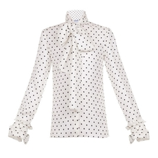 Loewe Dot Lavalliere Blouse White