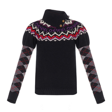 Loewe Argyle Sleeves Sweater Black