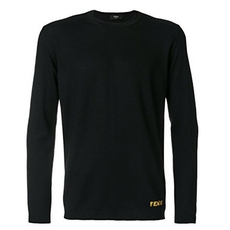 Fendi Bag Bugs Elbow Patch Sweater Black